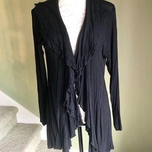 Ruffled Jersey knit jacket w/ ruffled accents